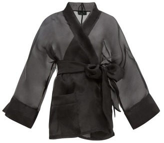 Raey X Lucy Jones Sheer Silk-organza Robe - Womens - Black