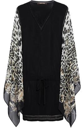 Roberto Cavalli Draped Leopard-print Silk-paneled Stretch-knit Mini Dress
