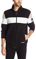 DKNY Men's Color Block Light Weight Stretch Full Zip Mock Neck Sweatshirt