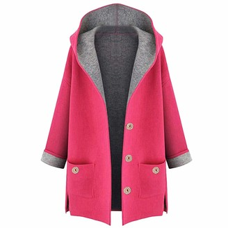 Toamen Women's Coat Womens Hooded Coat Toamen Winter Plus Size Cotton Linen Fluffy Fur Zipper Warm Parka Outwear Jacket Overcoat Outercoat Tops(Yellow 16)