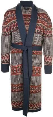 Alanui Fair Isle belted cardi-coat