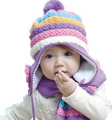 Chericom Store-Hat Winter Warm Baby Girls Wool Hat/Scarf Set Knitted Hat Scarf Set Flowers