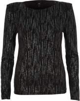 River Island Womens Black glitter long sleeve shoulder pad top