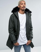 Asos Coated Parka With Interchangeable Fur In Khaki