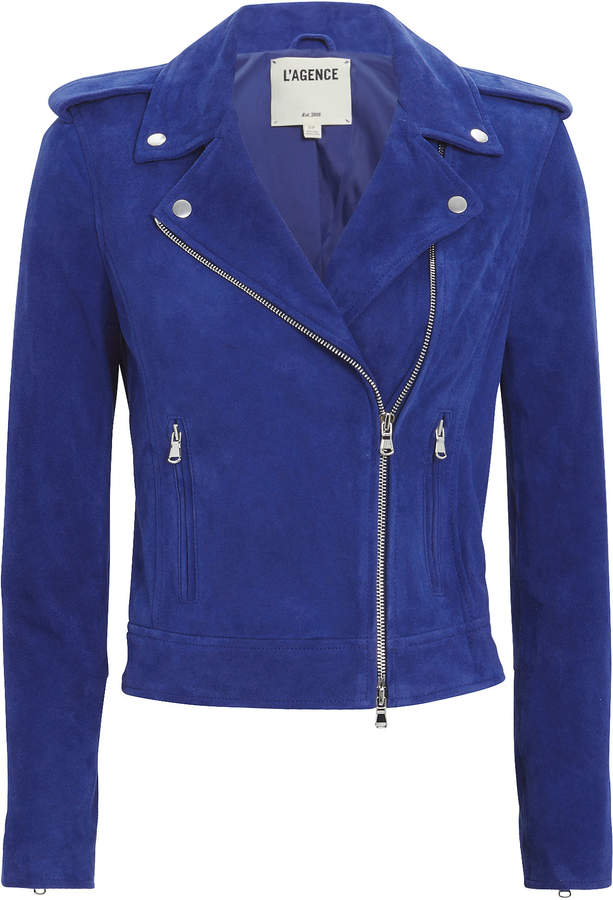 L'Agence Perfecto Blue Suede Jacket