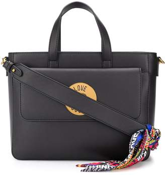 Love Moschino large logo plaque tote