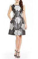 Anne Klein Floral Brocade Fit-and-Flare Dress