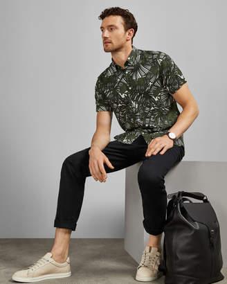Ted Baker HERO Short sleeved palm print Lyocell shirt