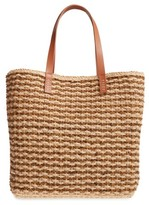 Nordstrom Stripe Raffia Tote - Brown