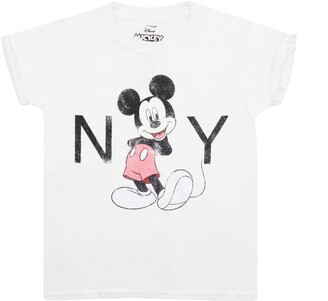 Disney Mickey Mouse - New York - Girls T Shirt White - Xlg