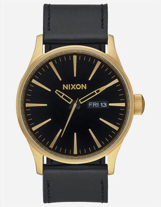 Nixon Sentry Leather Black & Gold Watch