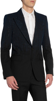 Givenchy Men's Embroidered Peak-Lapel Two-Button Jacket
