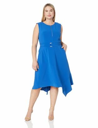 Taylor Dresses Women's Plus Size Sleeveless Zip Front sash tie Dress