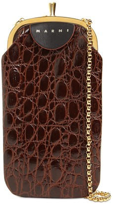 Marni Croc Embossed Leather Phone Case