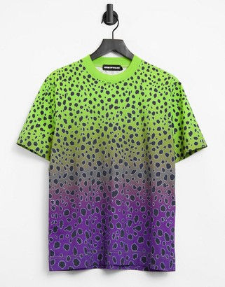 House of Holland bright cheetah oversized t-shirt in green multi
