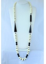 Miriam Haskell pristine (PR Vintage White Glass Bead and Black Bakelite Sautoir