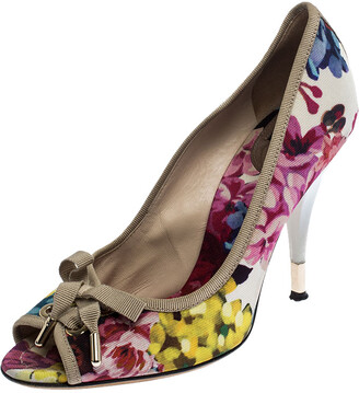 Dolce & Gabbana Multicolor Floral Printed Fabric Bow Peep Toe Pumps 37