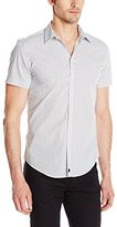 Calvin Klein Men's One Pixel Print Short Sleeve Button Down Shirt