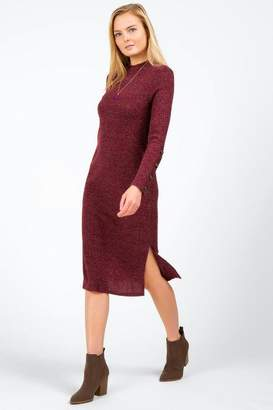 francesca's Cailyn Ribbed Button Sweater Dress - Berry