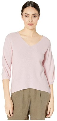 Michael Stars Grace 3/4 Sleeve V-Neck Pullover Cotton Sweater (Ballet) Women's Clothing
