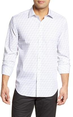 Bugatchi Shaped Fit Geo Print Button-Up Shirt