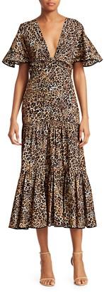 Johanna Ortiz Animal Jewel Short Sleeve Midi Dress