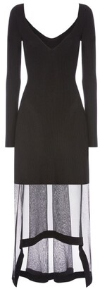 Alexander McQueen Knitted Sheer-Skirt Dress