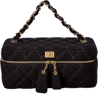Chanel Black Quilted Fabric Vanity Bag