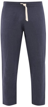 Marane - Drawstring-waist Tapered Linen Trousers - Navy