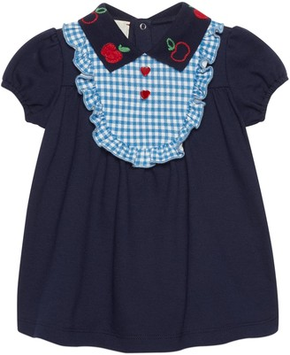 Gucci Baby cotton dress with apple embroidery
