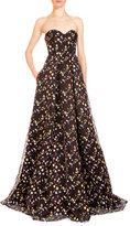 Erdem Taryn Floral Strapless Corset Gown, Black/Multi
