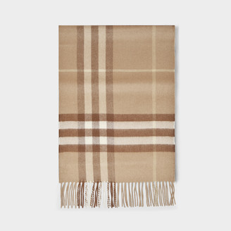 Burberry Giant Icon Scarf In Camel Cashmere