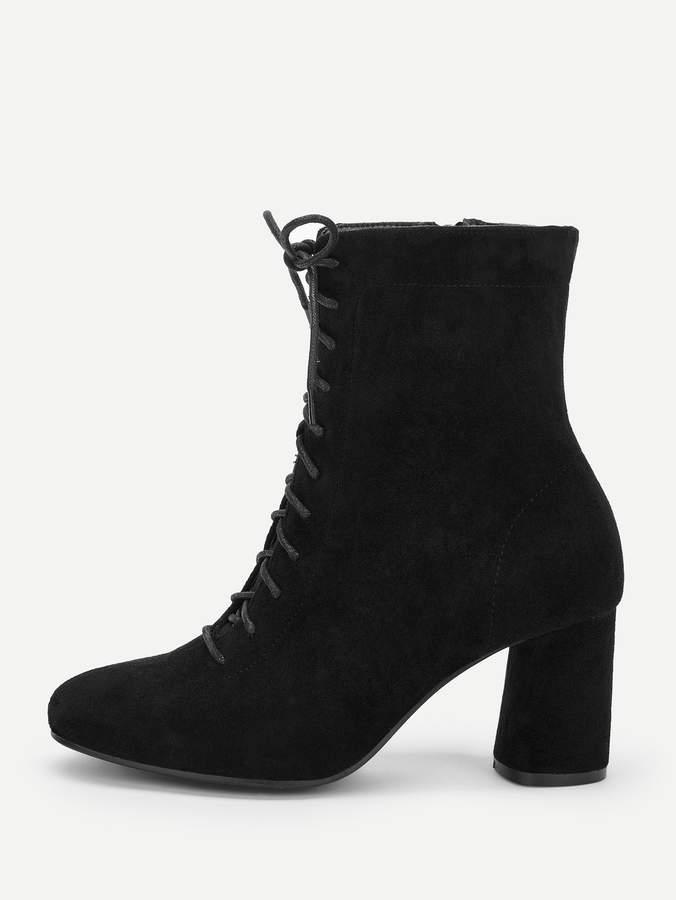 f5b9ab8e2a Side Zipper Lace Up Boots - ShopStyle