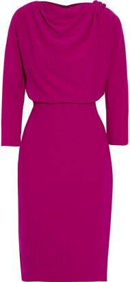 Badgley Mischka Button-embellished Draped Crepe Dress