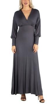 24seven Comfort Apparel Women's Formal Long Sleeve Maxi Dress