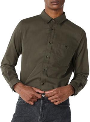 A.P.C. Men's Chicago Solid Flannel Sport Shirt