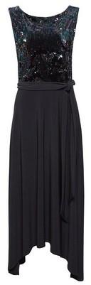 Dorothy Perkins Womens Showcase Black Sheeran Velvet Sequin Midi Dress, Black