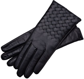 1861 Glove Manufactory Trani - Women's Woven Leather Gloves In Black