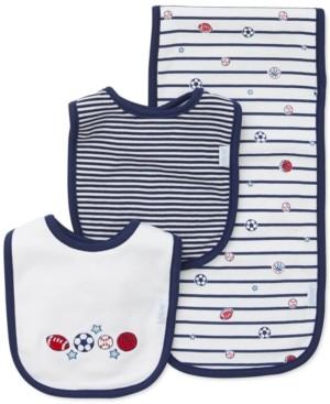 Little Me Baby Boys 3-Pk. Sports Star Cotton Bibs & Burp Cloth
