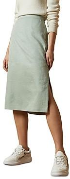 Ted Baker Narlica Snake-Textured Slit Midi Skirt