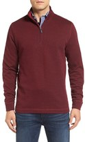 Bugatchi Men's Stripe Mock Neck Quarter Zip Pullover Sweater