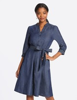 Draper James Chambray Puff Sleeve Button Front Dress