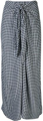 Ganni Gingham Print Midi Skirt