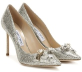 Jimmy Choo Jasmine 100 Glitter Pumps With Crystal Buttons