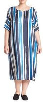 Marina Rinaldi, Plus Size Silk Twill Striped Midi Dress