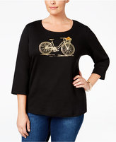 Karen Scott Plus Size Bicycle Pumpkin Graphic Top, Only at Macy's
