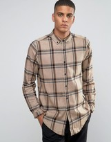 Asos Longline Camel Check Shirt With Textured Fabric and Long Sleeves In Regular Fit