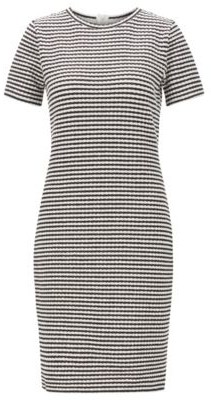 HUGO BOSS Bodycon dress in striped cotton-blend ottoman jersey