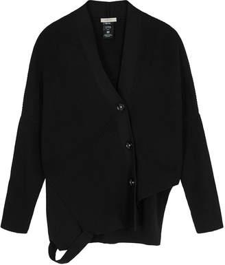 Crea Concept Black Asymmetric Ribbed-knit Cardigan