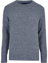 River Island Blue Textured Knit Jumper